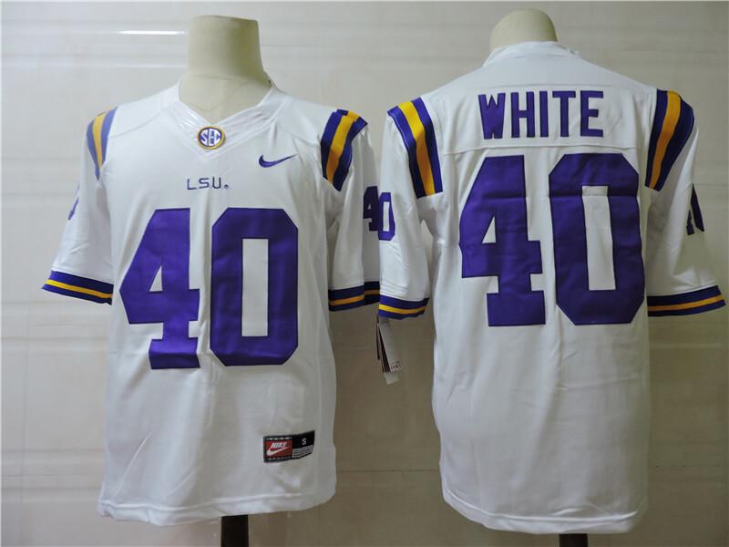 LSU Tigers #40 White College Football Jersey
