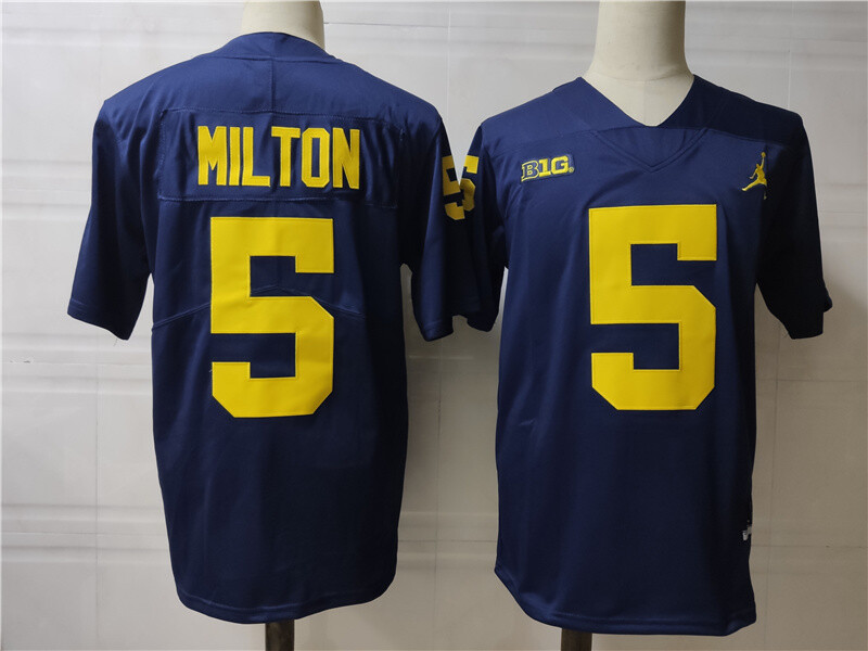 Michigan Wolverines #5 Joe Milton College Football Jersey Navy