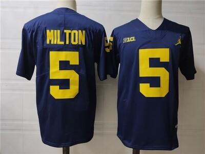 Michigan Wolverines #5 Joe Milton College Football Jersey Navy
