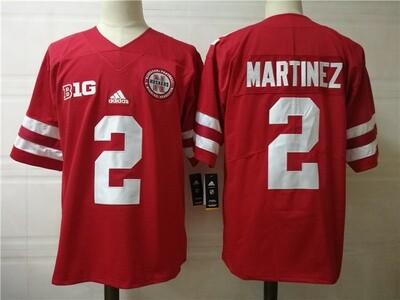 Nebraska Cornhuskers #2 Adrian Martinez College Football Jersey Red
