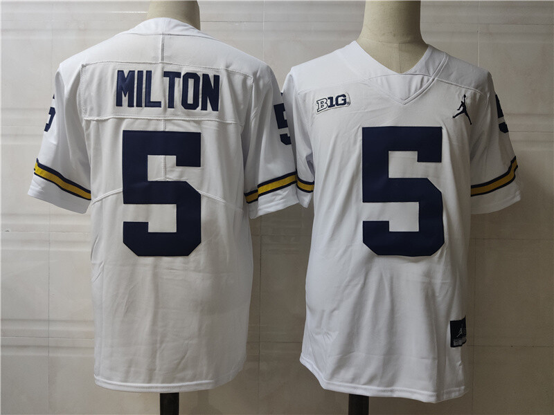 Michigan Wolverines #5 Joe Milton College Football Jersey White