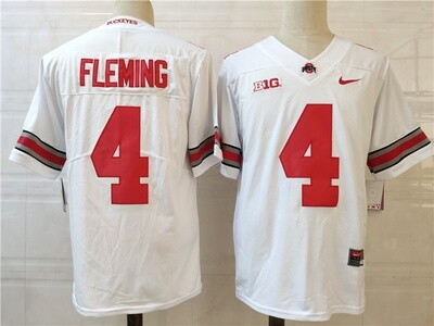 Ohio State Buckeyes #4 Fleming College Football Jersey White