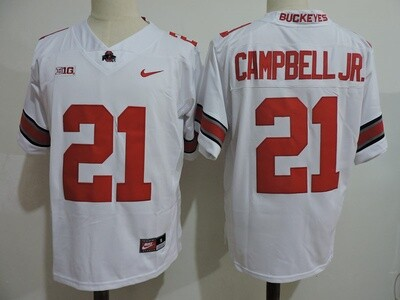 Ohio State Buckeyes #21 Campbell Jr College Football Jersey White