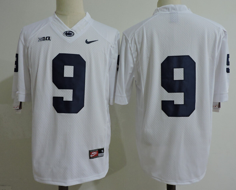 Penn State Nittany Lions Blue #9 No Name College Football Jersey White