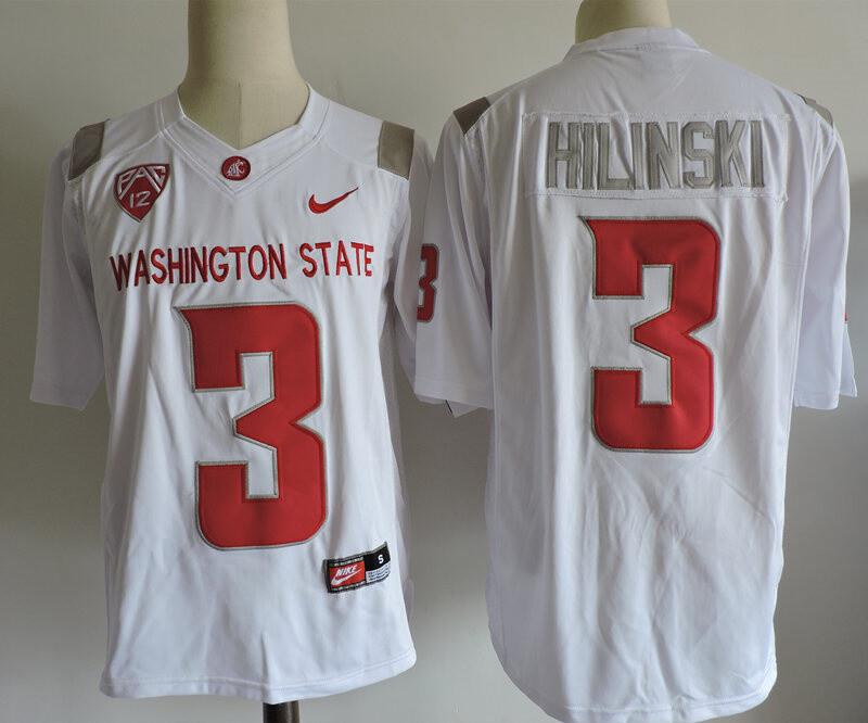 Washington State #3 Hilinski College Football Jersey White