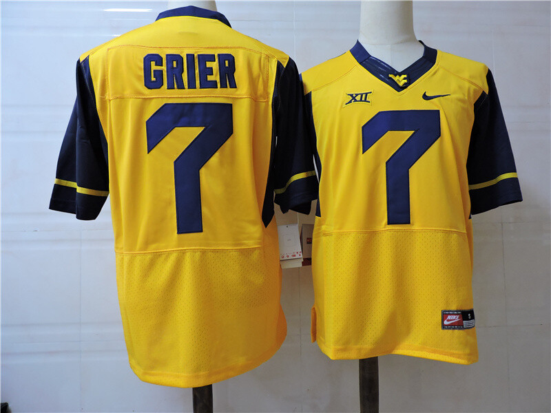 West Virginia Mountaineers #7 Will Grier College Football Jersey Yellow