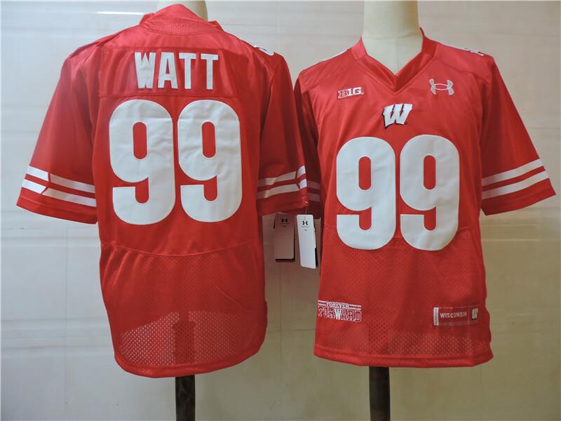 Wisconsin Badgers #99 Watt College Football Jersey Red