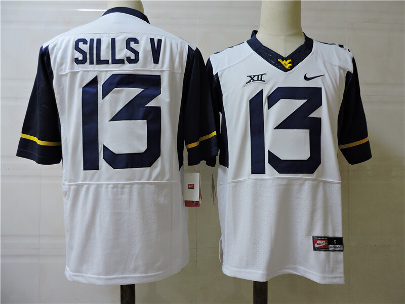 West Virginia Mountaineers #13 David Sills V College Football Jersey White