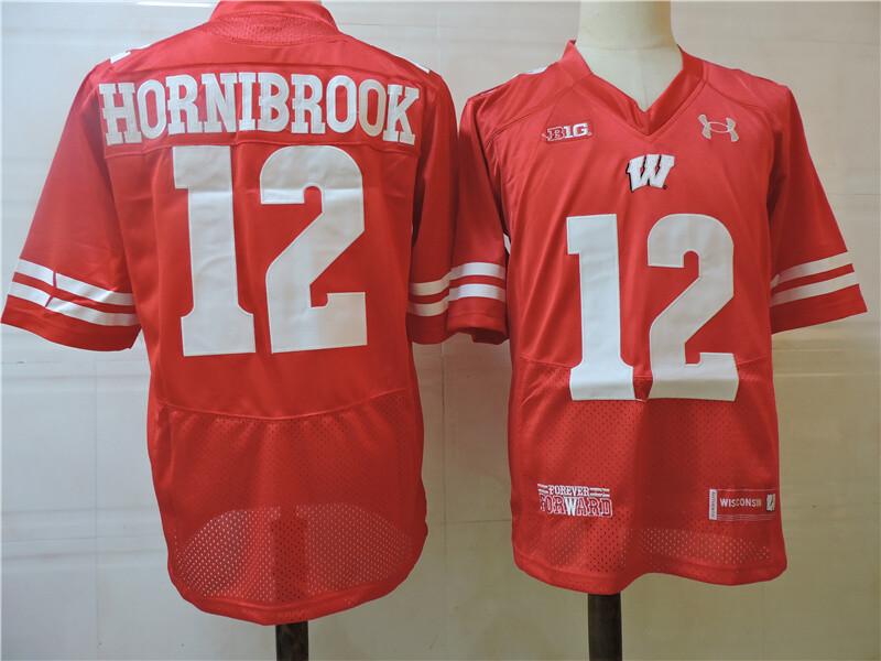 Wisconsin Badgers #12 Hornibrook College Football Jersey Red