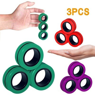 3pcs Anti-stress Magnetic Toy Finger Rings