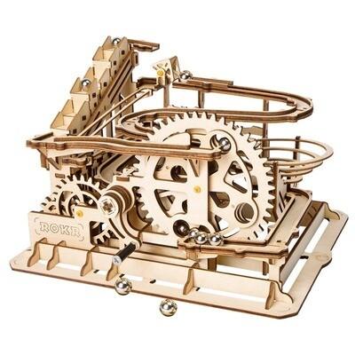 Marble Run DIY Waterwheel Wooden Model Building Block Kits Assembly Toy