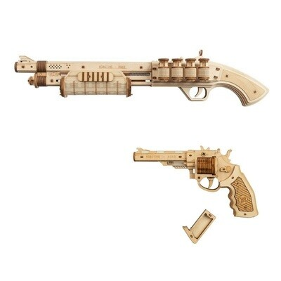 Gun Building Blocks DIY Revolver, Scatter with Rubber Band Bullet Wooden Popular Toy