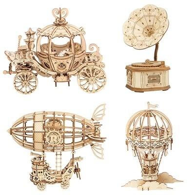 3D Wooden Puzzle Games Assembly Model Kits Toys Pumpkin, Ballon, Airship, Gramophone