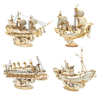 3D Wooden Puzzle Games Boat and Ship Model Toys