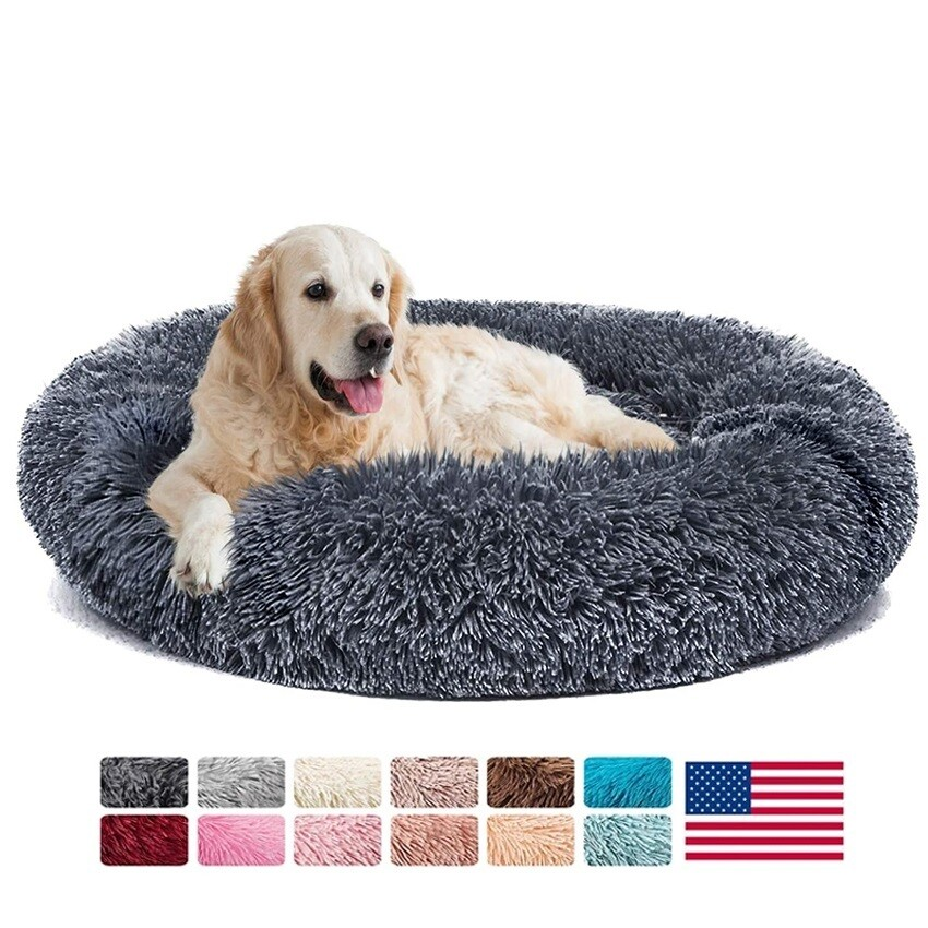 Donut Dog Bed Warm Soft Long Plush Pet Cushion