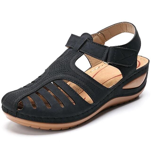 Premium Lightweight Hook Loop Wedges Women Sandals Casual Gladiator Platform