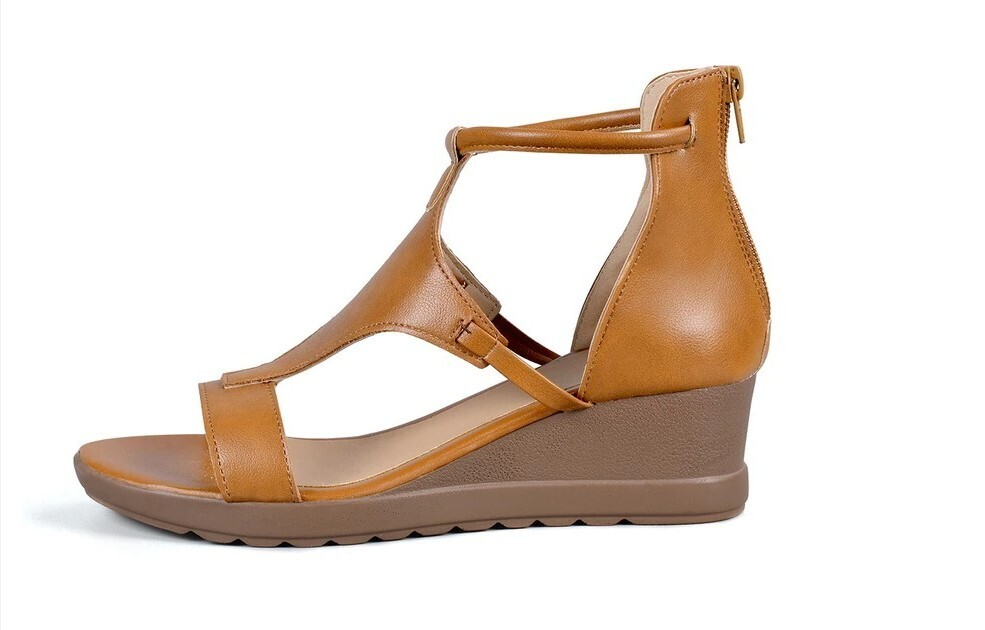 Summer Ladies Mid Heels Wedges Leather Vintage Gladiator Party Beach Women Sandals Flip-flop Chancla Slippers Lace Up