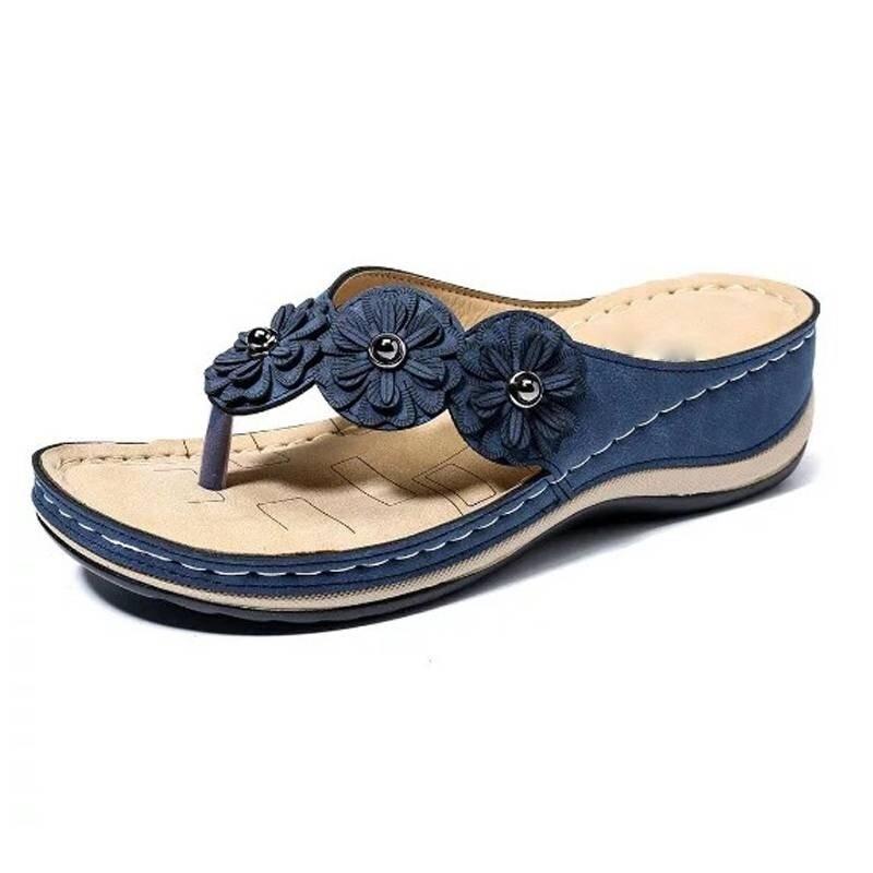 Premium Women Flower Summer Wedge Clip Toe Beach Sandals