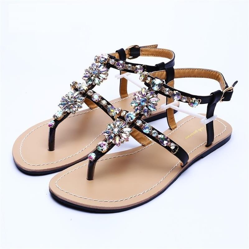 Premium Crystal Chain Flat Bottom Rome Women Sandals
