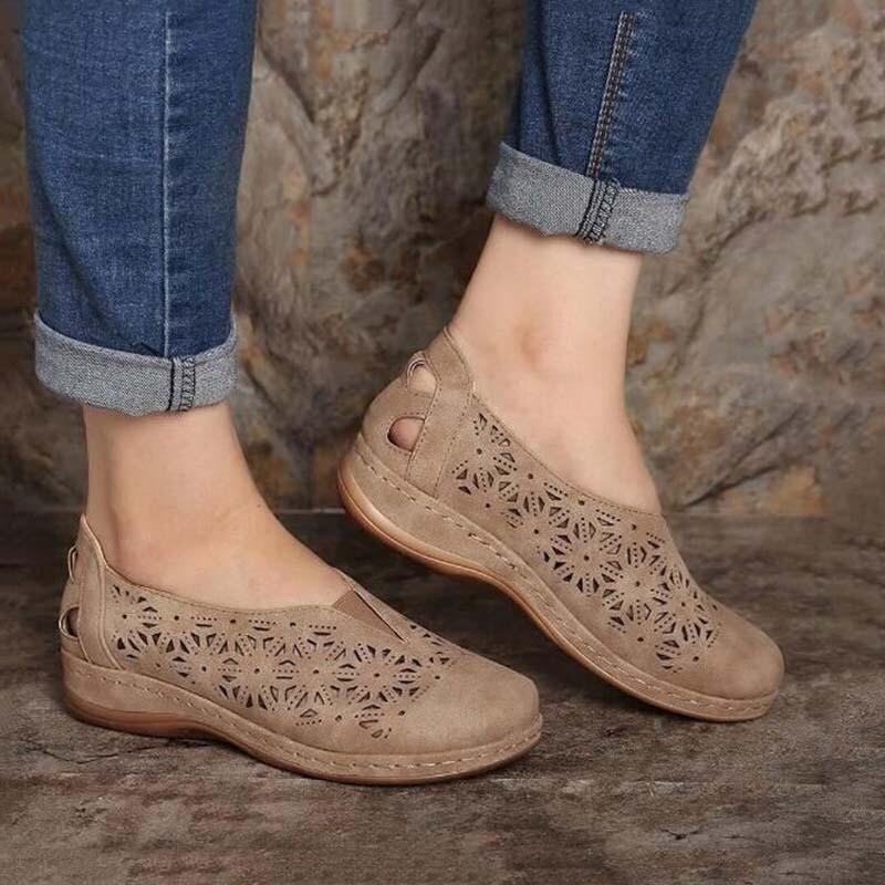 Orthopedic Vintage Faux Leather Women Sandals Slip On Shoes Platform Summer Closed Toe Chancla Slippers