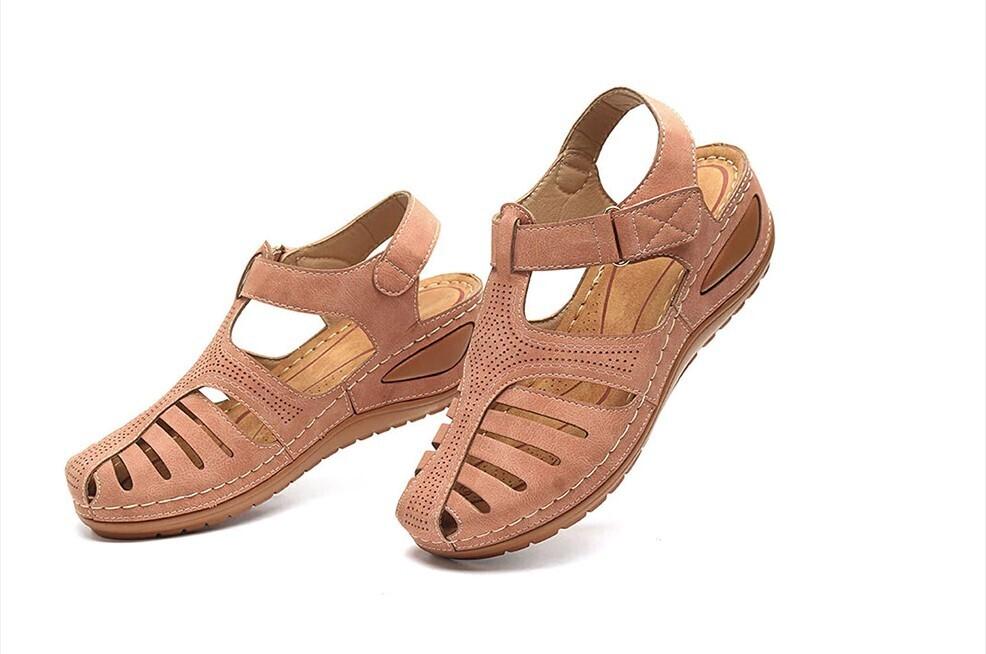 Orthopedic Lightweight Leather Cute Women Sandals Genuine Platform Closed Toe Casual Flip flop Chancla Slippers