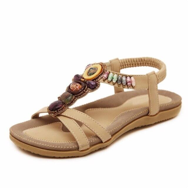 Premium Bohemia Bead Flat Bottomed Women Sandals