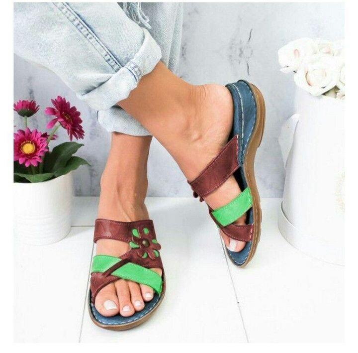 Comfy Orthopedic Sandals Vintage Leather Ladies Slides Open Toe Female Cute Sandals For Women