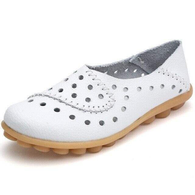 Comfy Women Flat New Cut-Outs Summer Premium Orthopedic Breathable Genuine Leather Loafer