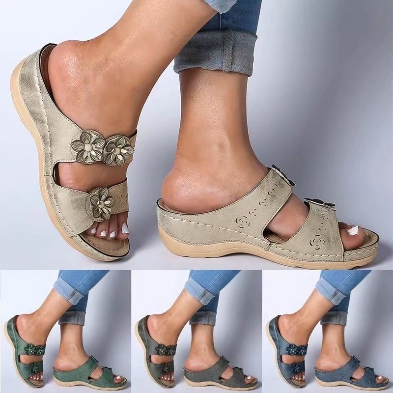 Cute Design Open Toe Orthopedic Fancy Flower Women Summer Sandals Vintage Wedge Heel