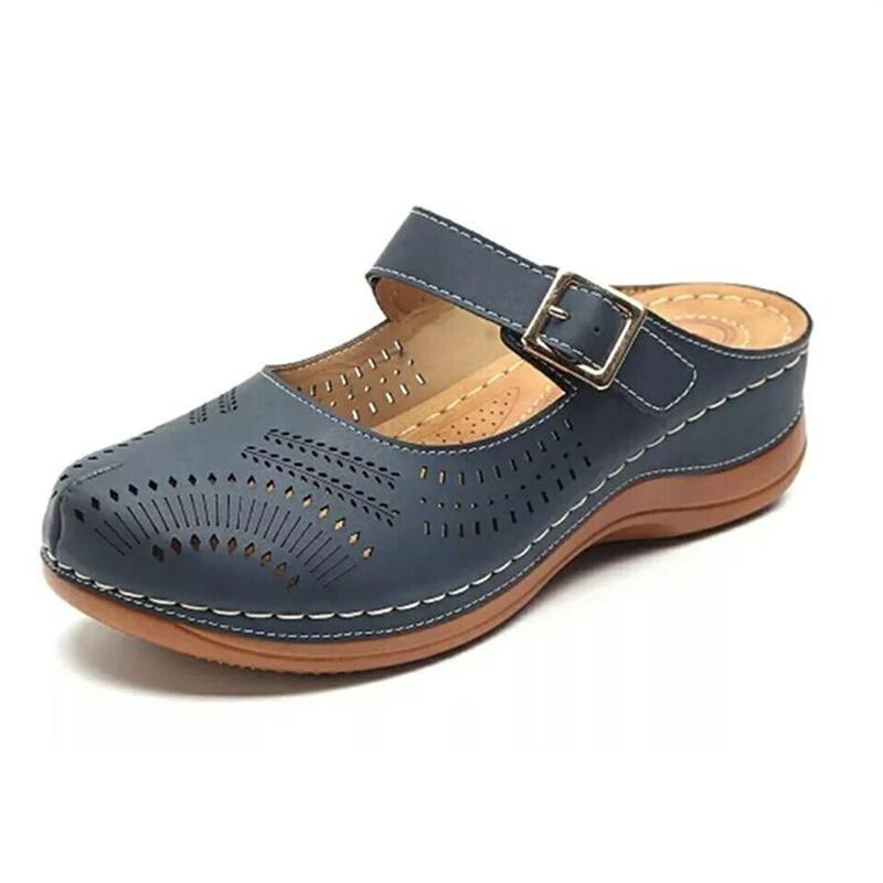 Hollow Out Open Heel Casual Wedges Closed Toe Platform Summer Women Sandals Flip-flop Chancla Slippers