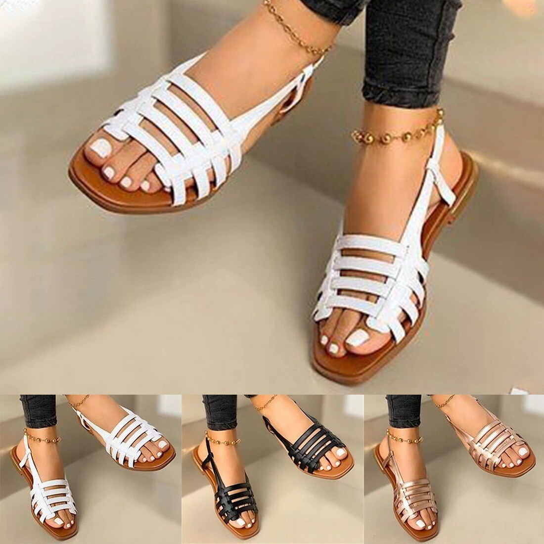 Flat Sandals Elegant Ladies Summer Open Toe Outdoor Fashion Leather Hollow Out Cute Sandals For Women