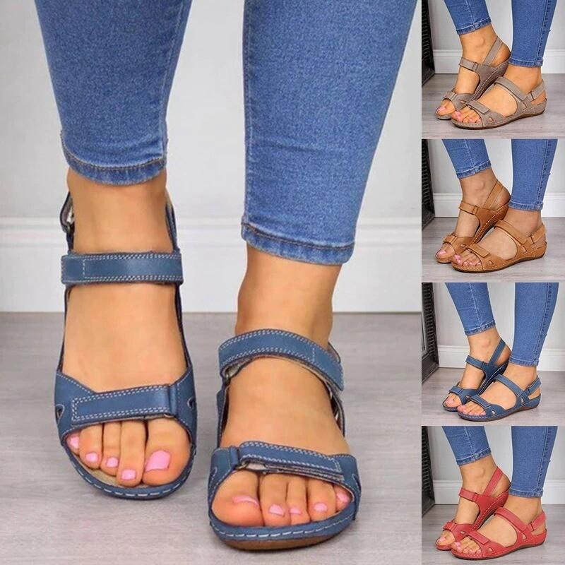 Premium Faux Leather Arch-Support Orthopedic Platform Summer Women Cute Girl Sandals Flip-flop Chancla Slippers