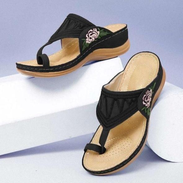 Premium Flower Sandal Embroidered Flip Flop Orthopedic Arch-Support Platform Summer Women Sandals Chancla Slippers