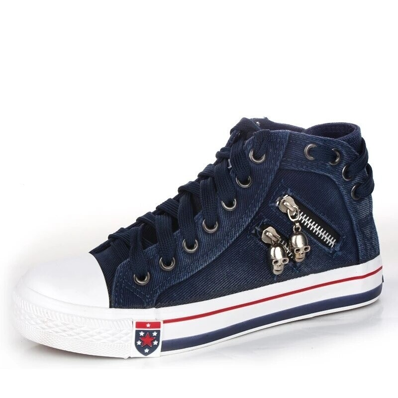 Denim High-Top Back Lace-p Design Canvas Sneakers Shoes For Women
