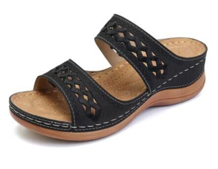 Premium Orthopedic Faux Leather Arch-Support Platform Summer Women Sandals Flip-flop Chancla Slipper