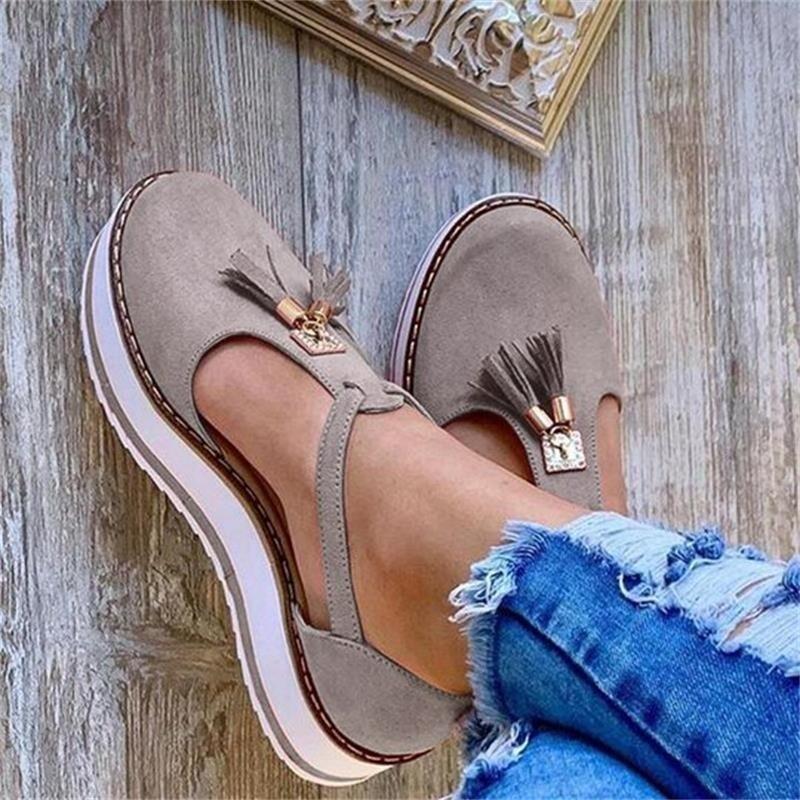 Women's Orthopedic Casual Platform Flat Comfort Closed Toe Sandals Leather Walking Shoes Chancla Slippers