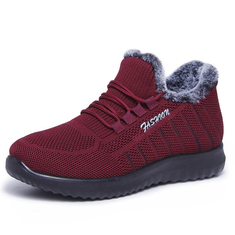 Winter Fur Plush Casual Female Vulcanized Running Lace-up Shoes Sneakers