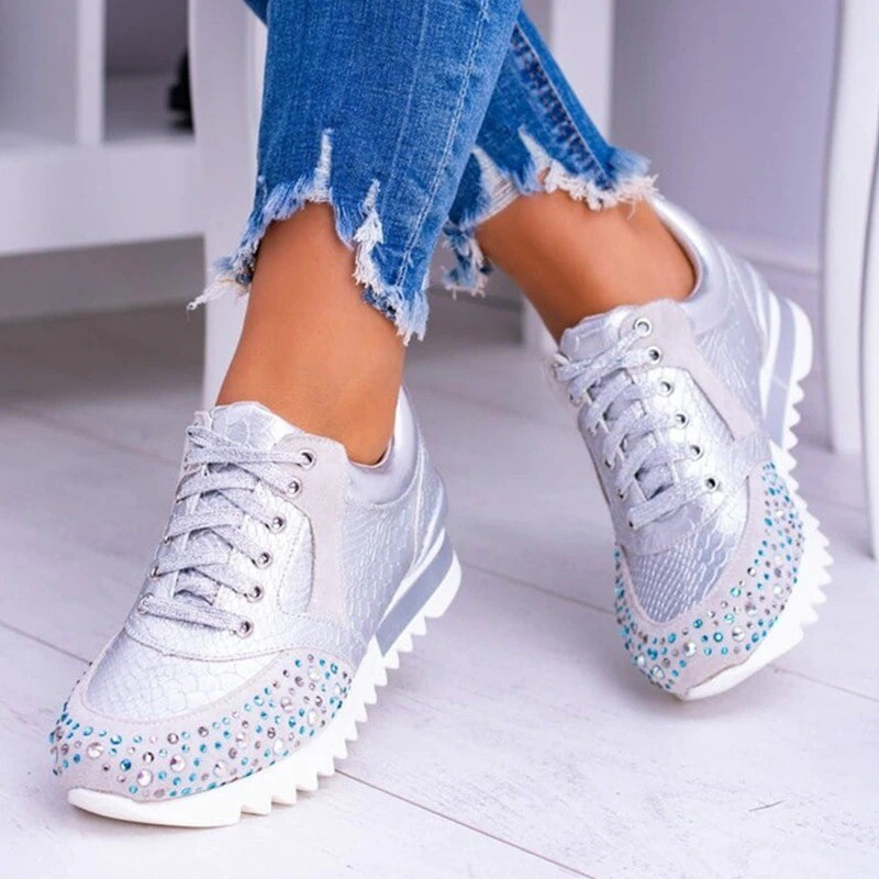 Elegant Comfortable Shoes Shine Crystal Platform Female Vulcanized Shoes Casual Shoes Ladies Outdoor