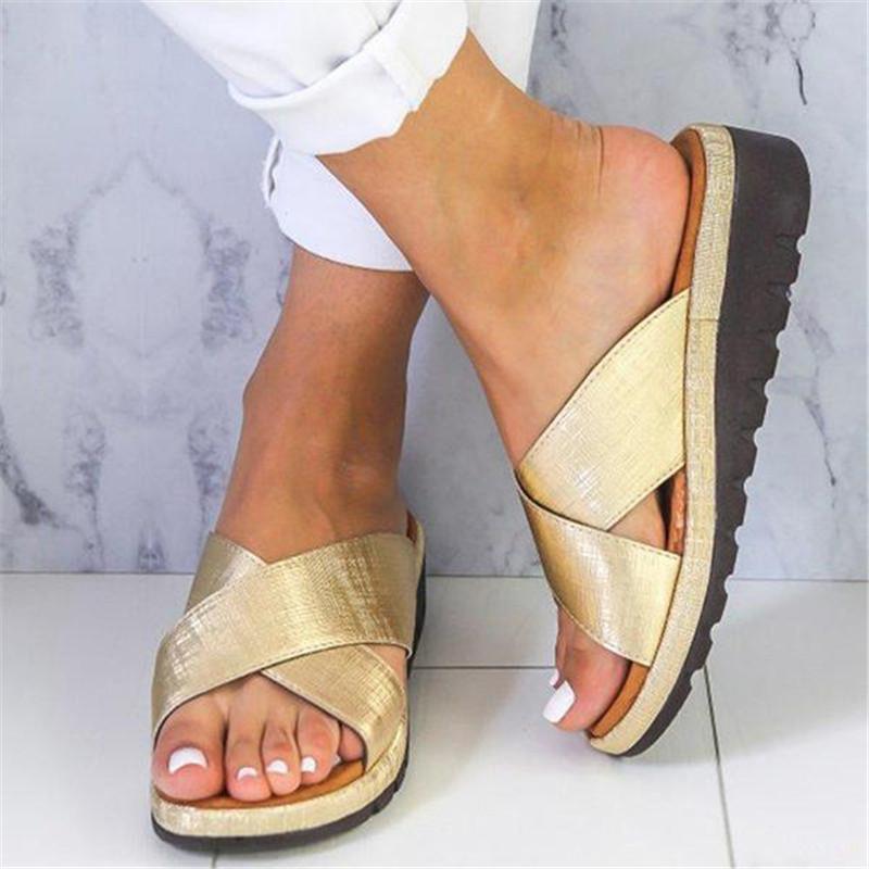 Posture Alignment Cross Platform Summer Women Wide Width Sandals Flip-flop Orthopedic Chancla Slippers