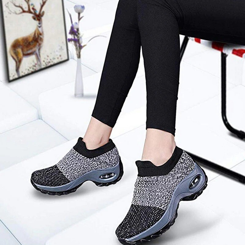 Women's Breathable Air Cushion Walking/Running Shoes Slip On Sneakers