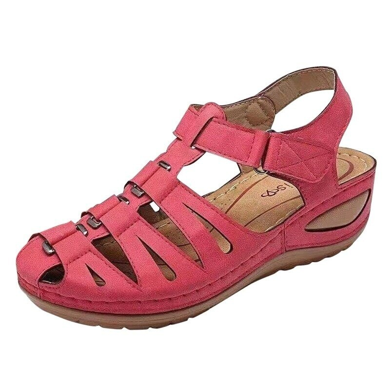 New Fashion Wedges Retro Outdoor Summer PU Leather Slope Casual Sandals For Women