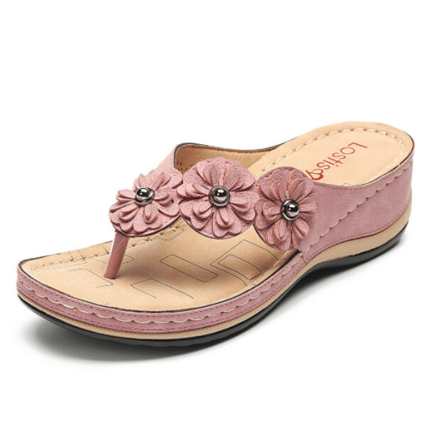 Orthopedic Lightweight Arch-Support Clip Toe Platform Summer Women Flower Sandals Flip-flop Chancla Slippers