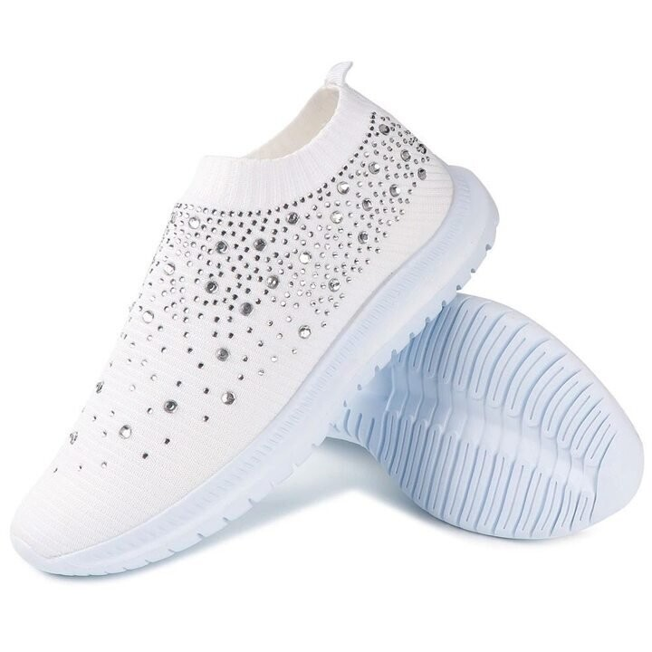 Women's Crystal Breathable Slip On Walking Summer Shoes Sneakers