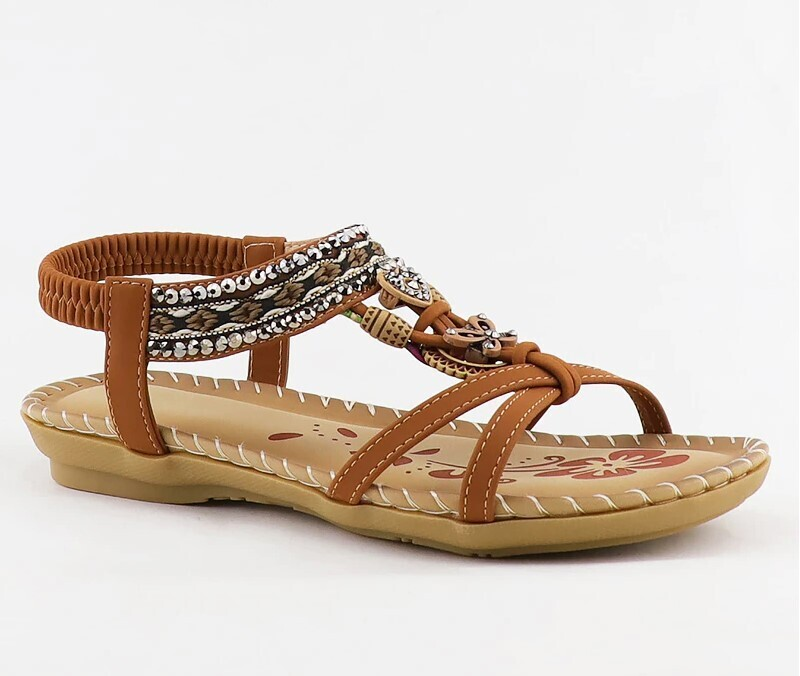 Retro Women's Summer Sandals Fashion Flower Print Sewing Design Soft Paltform Elastic Band