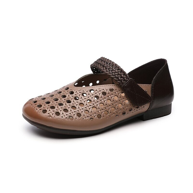 EVA Comfy Genuine Leather Summer Woman Flats Hollow Breathable Comfortable Casual Sandals