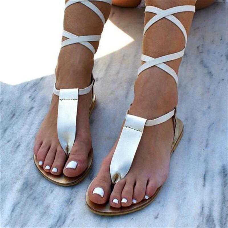 New Gladiator Cute Women Flat Sandal Cross Strap Thong Sandals
