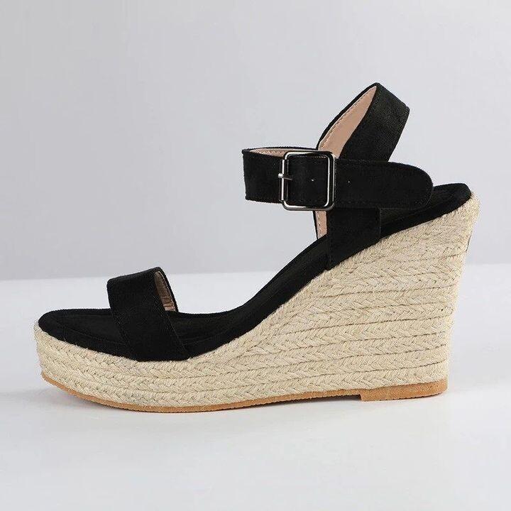 Women Fashion Wedge Sandals High Heel Solid Buckle Strap Slip On
