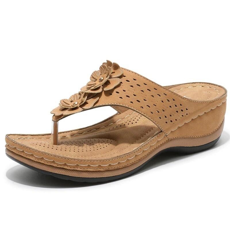 Premium 3-Arch Support Comfortable Wedge Flower Clip Toe Women Bohemia Sandals