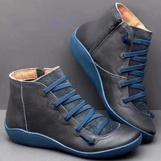 Premium Orthopedic Lace-Up Ankle Boots, Genuine Comfy Orthopedic Leather Boots, 2021 Design