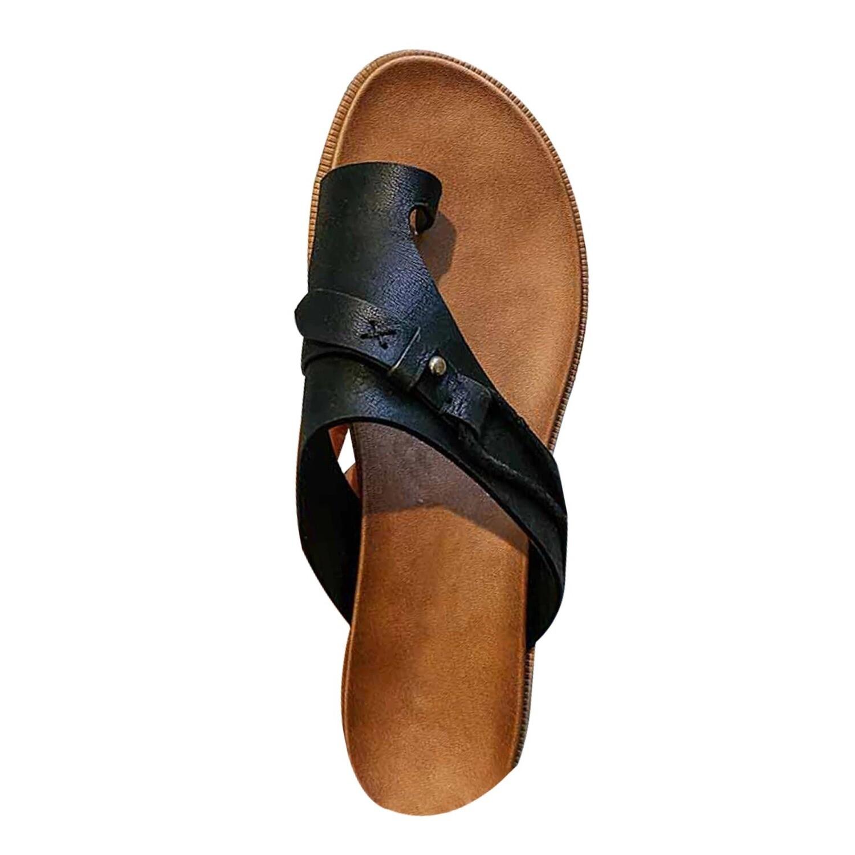 Summer Leather Orthopedic Sandals Flip Flop Beach Sandals Anti-Slip Design